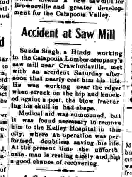 accident at saw mill